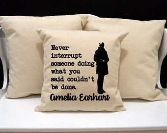 Amelia Earhart Pillow, Historical Pillow, novelty throw pillow, pillow gift, nerd gift, nerd pillow, modern home decor, 20x20 16x16 inch