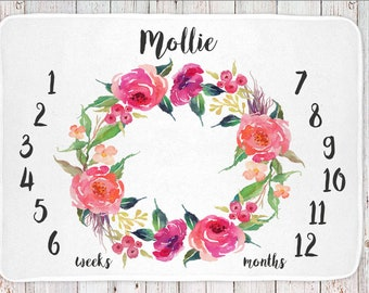 Personalized milestone monthly baby blanket, girls floral print (BB105)