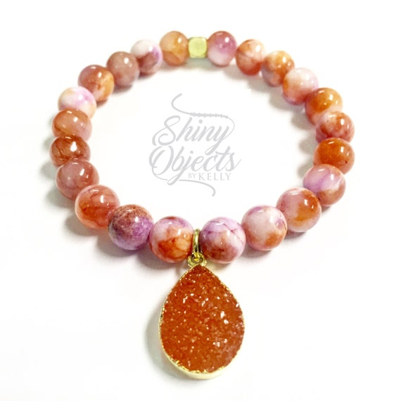 Coral Color Mountain Jade Beaded Bangle with Gold Plated Druzy Pendant