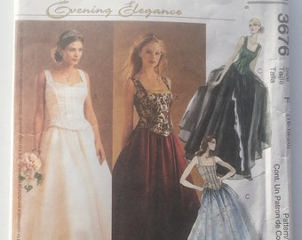 McCall's 3676 Evening Elegance Wedding or Evening Gown Uncut Sewing Pattern