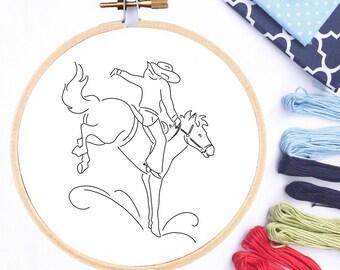 Hand Embroidery Transfer Pattern PDF Bucking Bronco Cowboy Western Vintage Transfer Design Printable Embroidery Pattern PDF Pattern