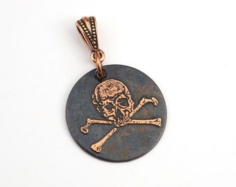Skull and crossbones pendant, small round flat etched pirate jewelry, optional necklace, 25mm