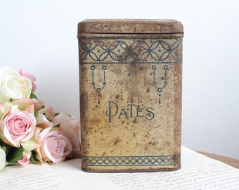 "Vintage French Metal Tin ""Pâtes"" Canister"