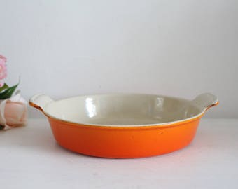 Vintage French Le Creuset Orange Cast Iron Round Gratin Dish - 22cm