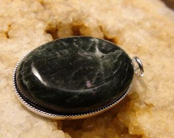 Oval Green Stone Silver Pendant