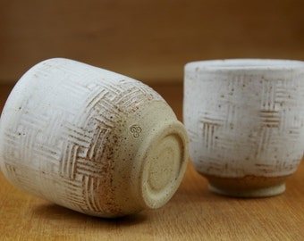 Set of Two Ceramic Tumblers, Pottery Cups, Handmade Stoneware Tea Cups, Handless Mugs