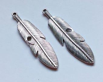 10-  Silver feather charms - 61 x15mm
