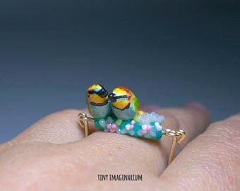 Couple ring, love bird ring, animal jewelry, bird jewelry, gift for girlfriend, fidget ring, spring theme, gift for bird lover, floral ring