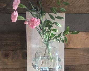Antique Glass and Reclaimed Wood Wall Vase