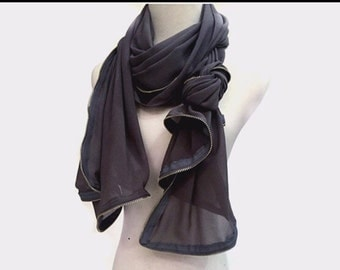 Chiffon Zipper Trim Hijab Scarf  - Gray Color as pictured
