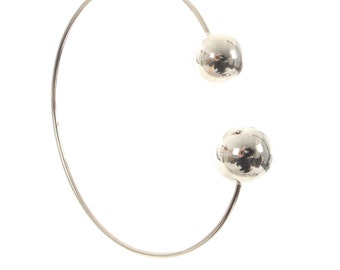 925 Sterling Silver Solid Screw End Charm Torque Bangle , 60 mm and 2mm Thick