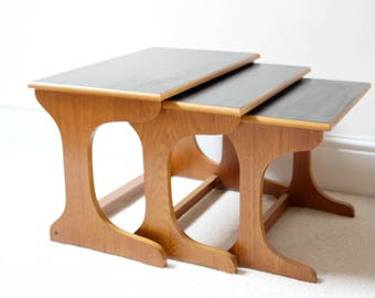 Sleek Danish Style Mid Century Teak and Black Nest of Tables