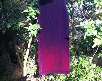 High waisted ombre purple velvet skirt