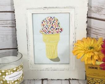rainbow sprinkle ice cream 5x7 Wall Art - dorm decor - ice cream poster - kitchen decor -kids room decor- summer decor - dessert decor