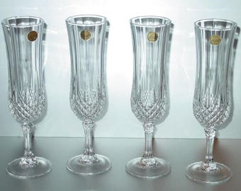 Cristal d'Arques-Durand Longchamp Fluted Champagne Glasses (4) 24% Lead Crystal, Made in France, NEW