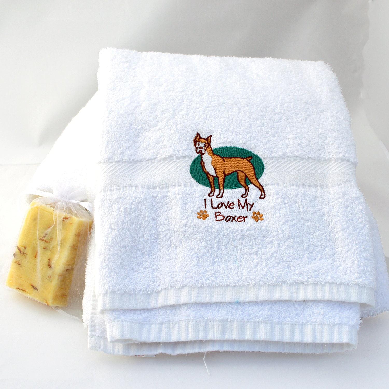 Personalized Boxer Dog Bath Towel Custom Gift Idea For Boxer