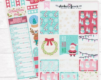 Christmas Holiday Kit - Planner Stickers for Erin Condren, Plum Planner