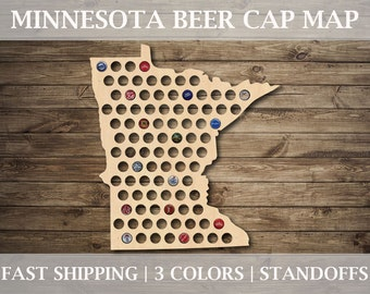 Minnesota Beer Cap Map | With Standoffs | State Beer Cap Map | Bottle Cap Map | Gifts For Him | All States Available