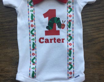 Very Hungry Caterpillar Birthday Onesie with Suspenders and a Bow Tie personalize