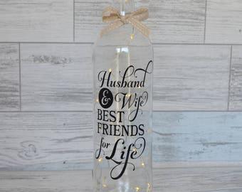 Wine Bottle Light, Decorative Wine Bottle, Wedding Gift, Anniversary Gift, Lighted Wine Bottle, Fairy Lights, Husband & Wife, New Home,
