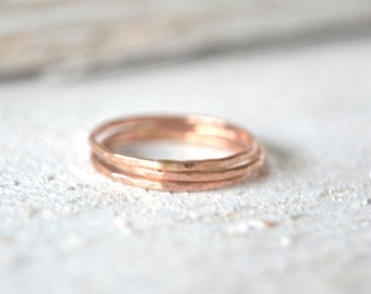 Three Super Thin Rose Gold Rings, Stacking Rings, Stack Ring, Thin Stackable Rings, Rose Gold Ring, Rose Gold Ring, Midi Rings, Knuckle Ring