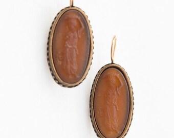 Fun Antique Inspired Resin Cameo Earrings