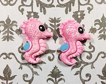 Pink Kawaii seahorse cabochons