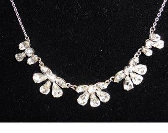 Vintage Fine Silver Plated Necklace Rhinestone pendants