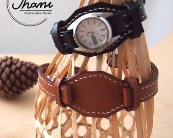 Bund watch straps with wrist pad / Wrist Pad Leather Watch Straps No.BW01-02