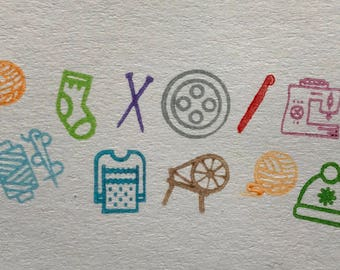 Yarn and sewing themed mini stamps