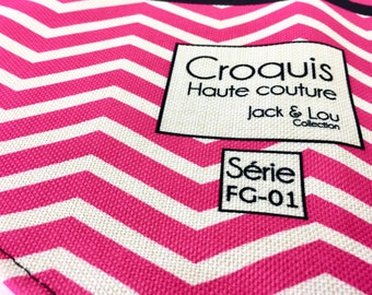 Scarf for dog/size, large scarf /Boutons pressure/zigzag pink / great quality fabric / washable / sturdy/great cute