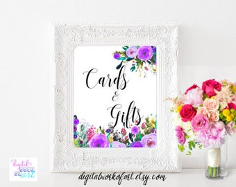 Cards and Gifts Signs, Wedding, Bridal Shower, Boho Wedding Reception Sign, Wedding Gift Table Printable Sign, Cards And Gifts, Floral Boho