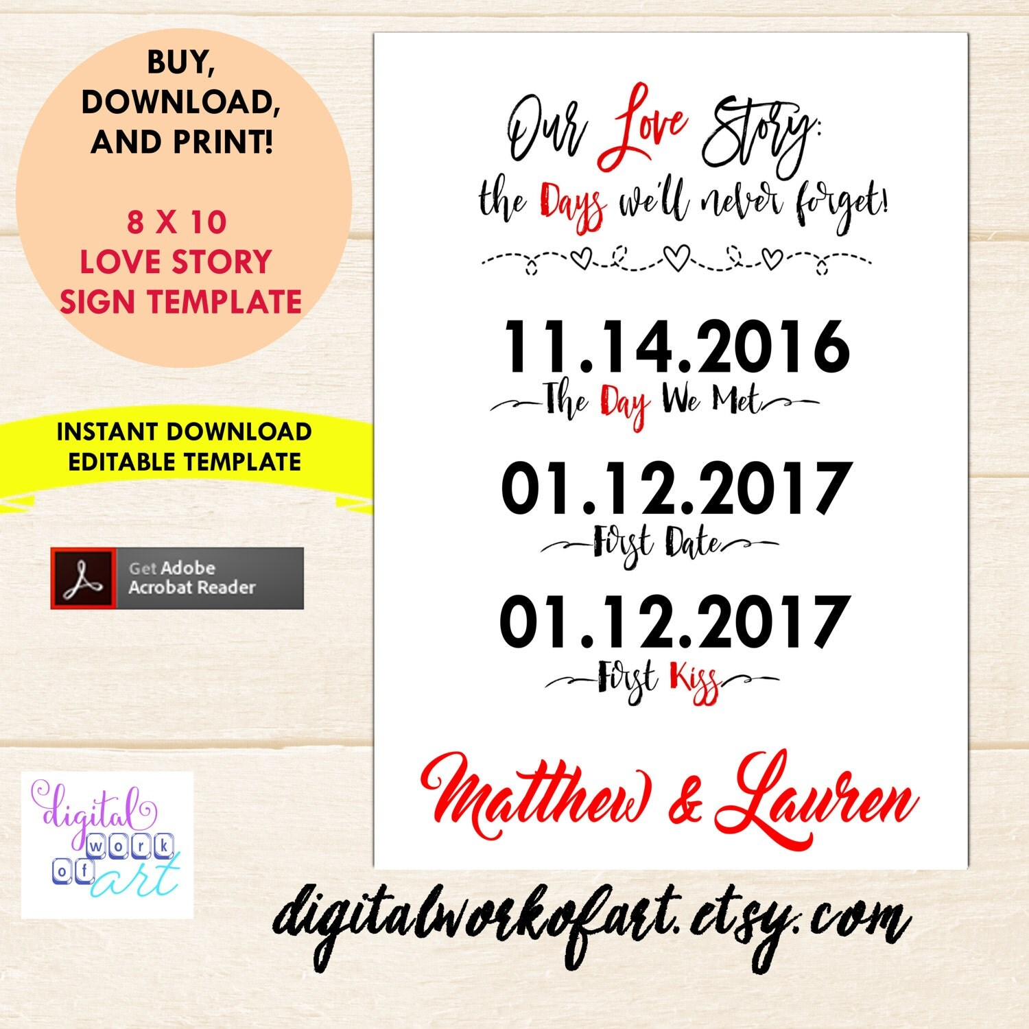 Our Love Story Sign Template, Our Love Story Sign Printable, DIY ...