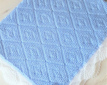 """Made To Order Knitted/Crochet Baby Blanket 33""""x 24"""""""