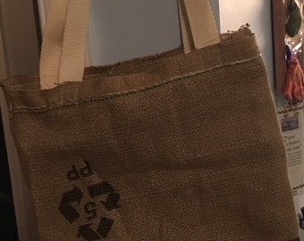 Repurposed Recycled Burlap Coffee Bag Tote
