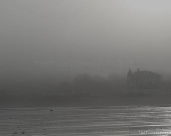 Maine Photography; fog; beach; stormy day at the beach; black and white photography