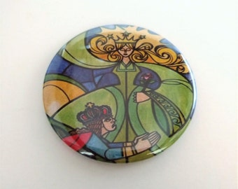 Beauty and the Beast Stained Glass Pocket Mirror