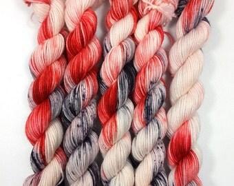 Loras, mini-skeins hand dyed yarn 20 g