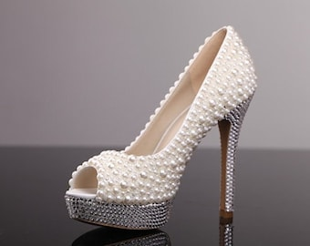 Peep Toes Ivory Pearl Wedding Shoes Cute Woman High Heels Evening Party Shoes Prom Platform Shoes Prom Shoes Valentine's Day gift