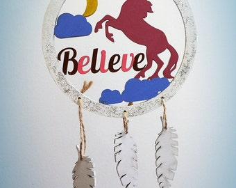 Unicorn MDF Hand Painted Believe Dream Catcher Home Decor Hanger Girls Nursery