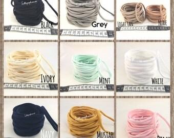 Wholesale Nylon Headbands SAMPLES | 65 cents each for 100 | White Pink Black Nude Navy Mint Ivory Cream Grey Mustard Nylon Headbands