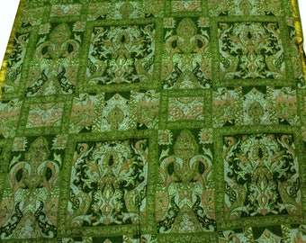 Vintage Silk Fabric Sari,Printed Silk Decorative Fabric, Silk Fabric for Dresses and home decorative, Traditional Indian Sari