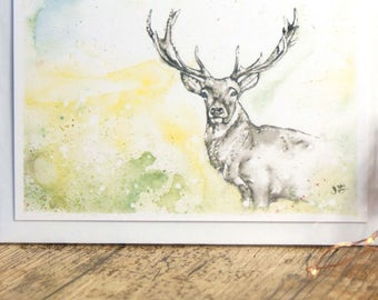 All Occasion Cards,Stag card,Stag Birthday card,Buck Birthday card, Anniversary, Handmade greeting card, Deer Watercolour card,Wildlife Art