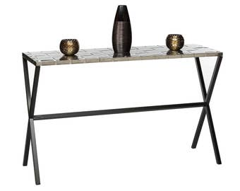 Console Table with Woven Stainless Steel Top and Black Cross Legs