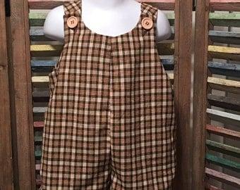 Jon jon, Baby boy jon jon, 100% cotton, Brown plaid jon jon, Size 1, Size 2, Baby boy romper, Boys clothing, Boys romper, #159  #160