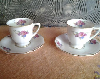 Heinrich Selb  Bavaraia demitasse cups and saucers, pair of two