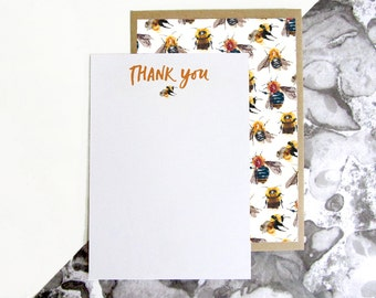 Bee Pattern Thank You Postcards
