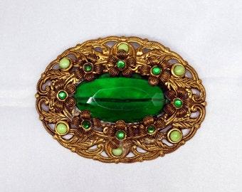 Edwardian Sash Pin with Green Stones