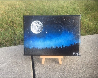 "Moon lit sky acrylic painting 5""x7"" canvas"