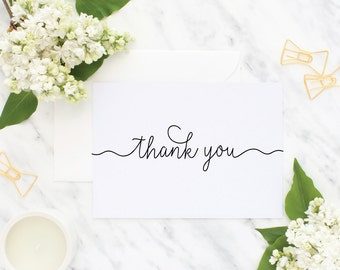 Wedding Thank You  Cards, Thank You, Simple Wedding Thank You Card, Simple Thank You, Pretty Wedding Thank You Card, Stationery Gift